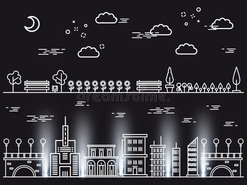Line art landscapes concepts on black background stock illustration