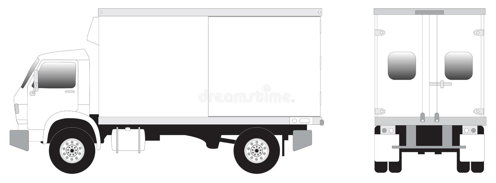 Line art - mini truck. Line art illustrration of side view of mini truck royalty free illustration