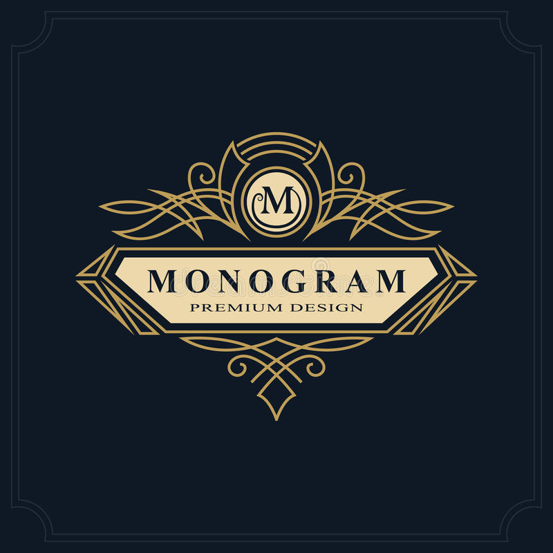 Line art Monogram luxury design, graceful template. Calligraphic elegant beautiful logo. Letter emblem sign M for Royalty,. Restaurant, Boutique, Hotel stock illustration