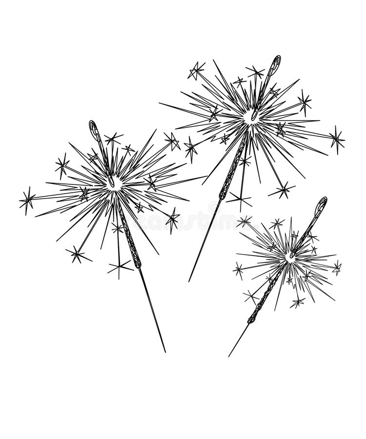 Free Line Art Of Sparklers On A White Background Royalty Free Stock Photo - 160191265