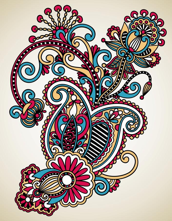 Line Art Ornate Flower Design : Line art ornate flower design stock illustration