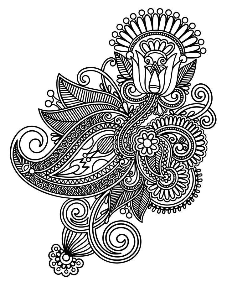 Line art ornate flower design. Hand draw line art ornate flower design. Ukrainian traditional style stock illustration