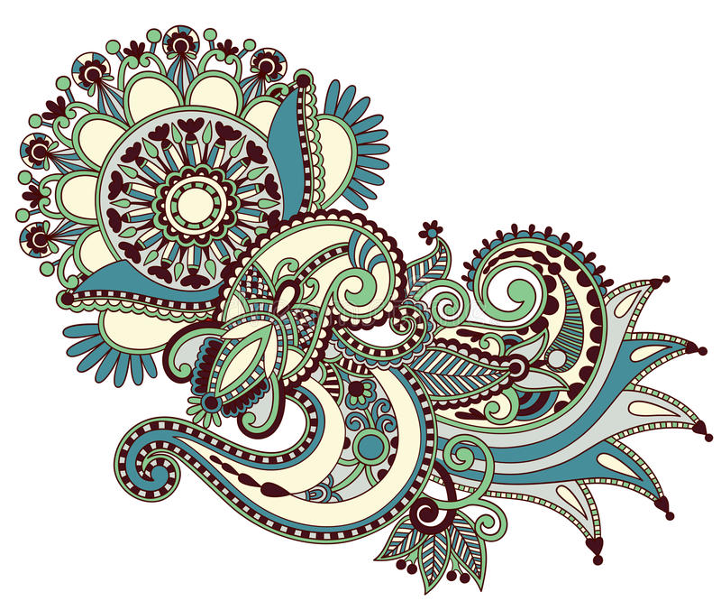 Line art ornate flower design stock illustration