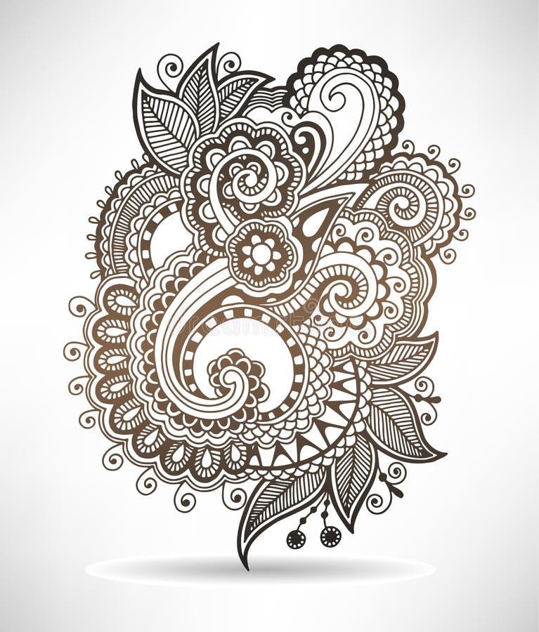 Line art ornate flower design, ukrainian ethnic. Style, paisley hand drawing, vector illustration vector illustration