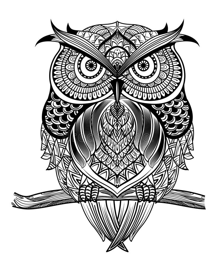 Line art owl-01. Vector hand drawn Owl sitting on branch. Black and white zentangle art. Ethnic patterned illustration for antistress coloring book, tattoo