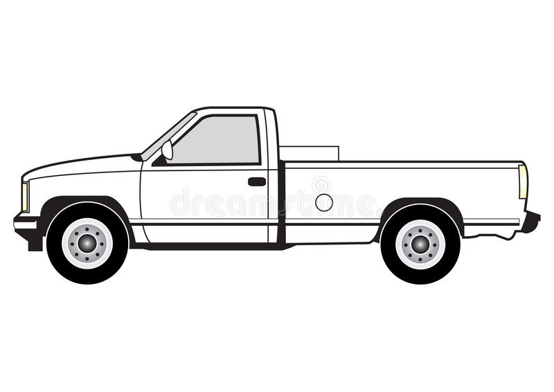 Line art - pick up. Line art illustration of the side view of a pick up stock illustration
