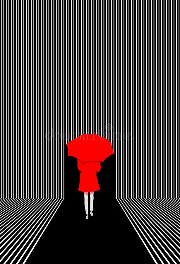 Line art red woman with umbrella vector stock illustration