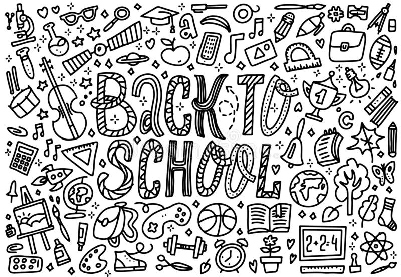 Line art sketchy vector hand drawn set of Back to School cartoon doodle objects. Horizontal composition. Concept of education. vector illustration