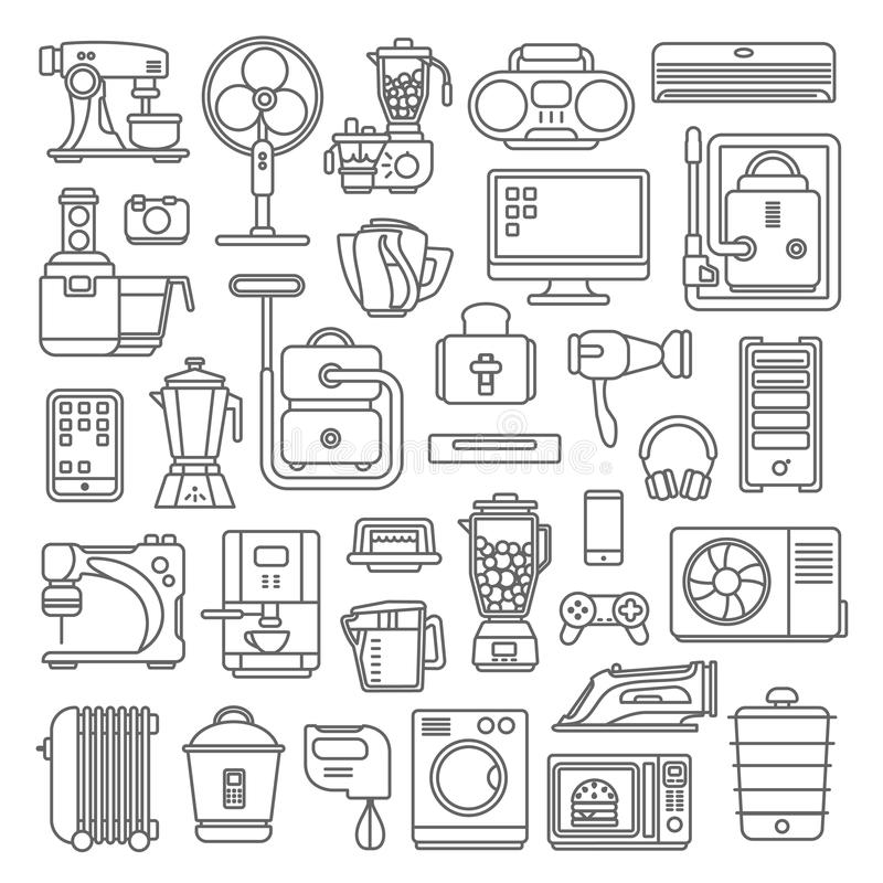 Line art style flat graphical set of home kitchen electronic device web site mobile app icons. Climate computer sewing washing. Coffee machine cooking blender royalty free illustration