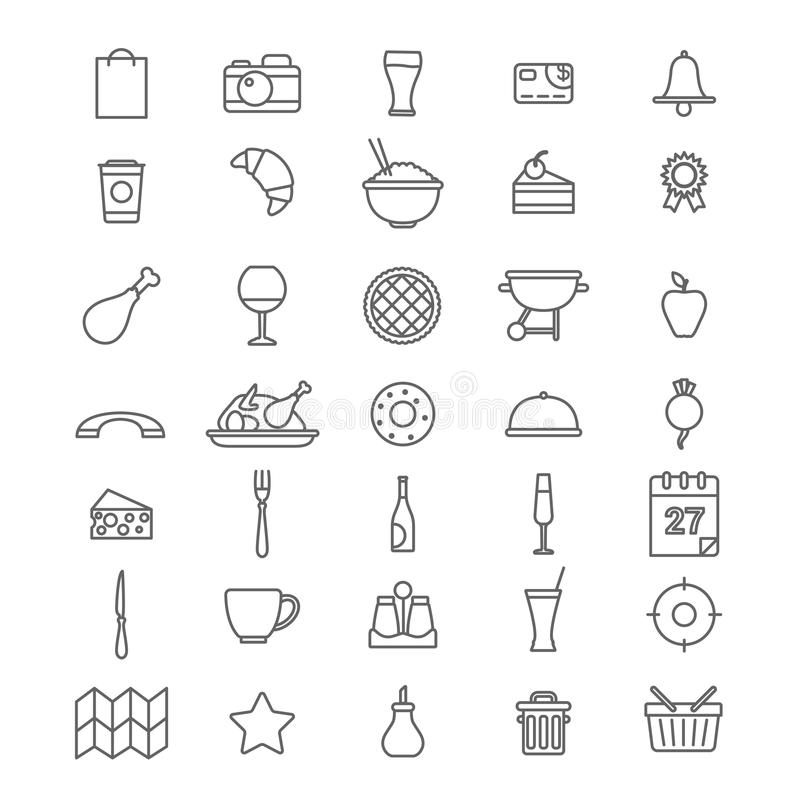 Line art style flat graphical set of web site mobile interface cafe restaurant fastfood pizzeria locator booking rating app icons. Pack. Dessert barbecue BBQ vector illustration