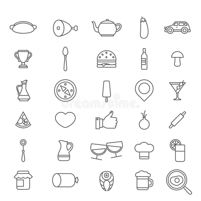 Line art style flat graphical set of web site mobile interface cafe restaurant fastfood pizzeria locator booking rating app icons. Pack. Hot dog tea burger wine vector illustration