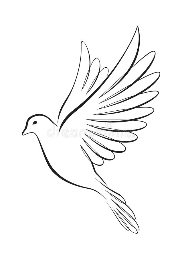 Line art-style flying dove stock vector. Illustration of ...