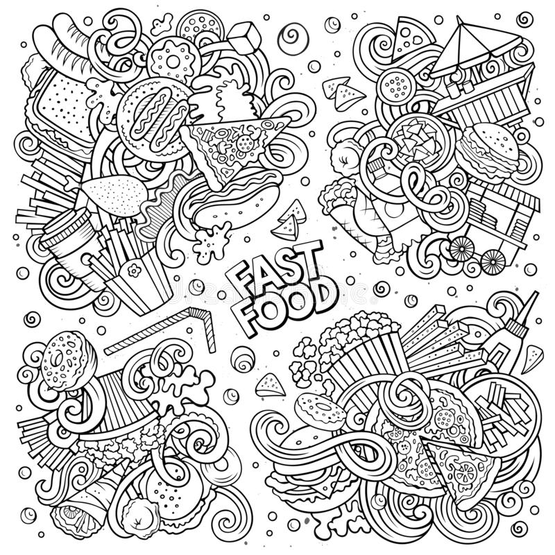 Line art vector doodles cartoon set of Fastfood combinations of objects. Line art vector hand drawn doodles cartoon set of Fastfood combinations of objects and stock illustration