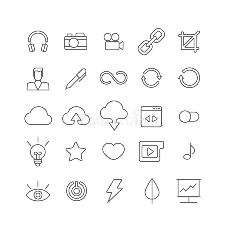 Line art vector flat graphical set of mobile interface app icons. Line art style flat graphical set of web site mobile interface app icons. Music headphones royalty free illustration