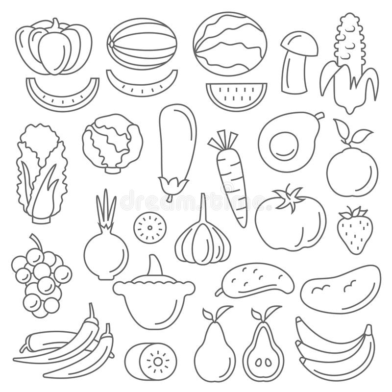 Art Line Quality : Line art vector graphical fancy set of fruit and vegetable