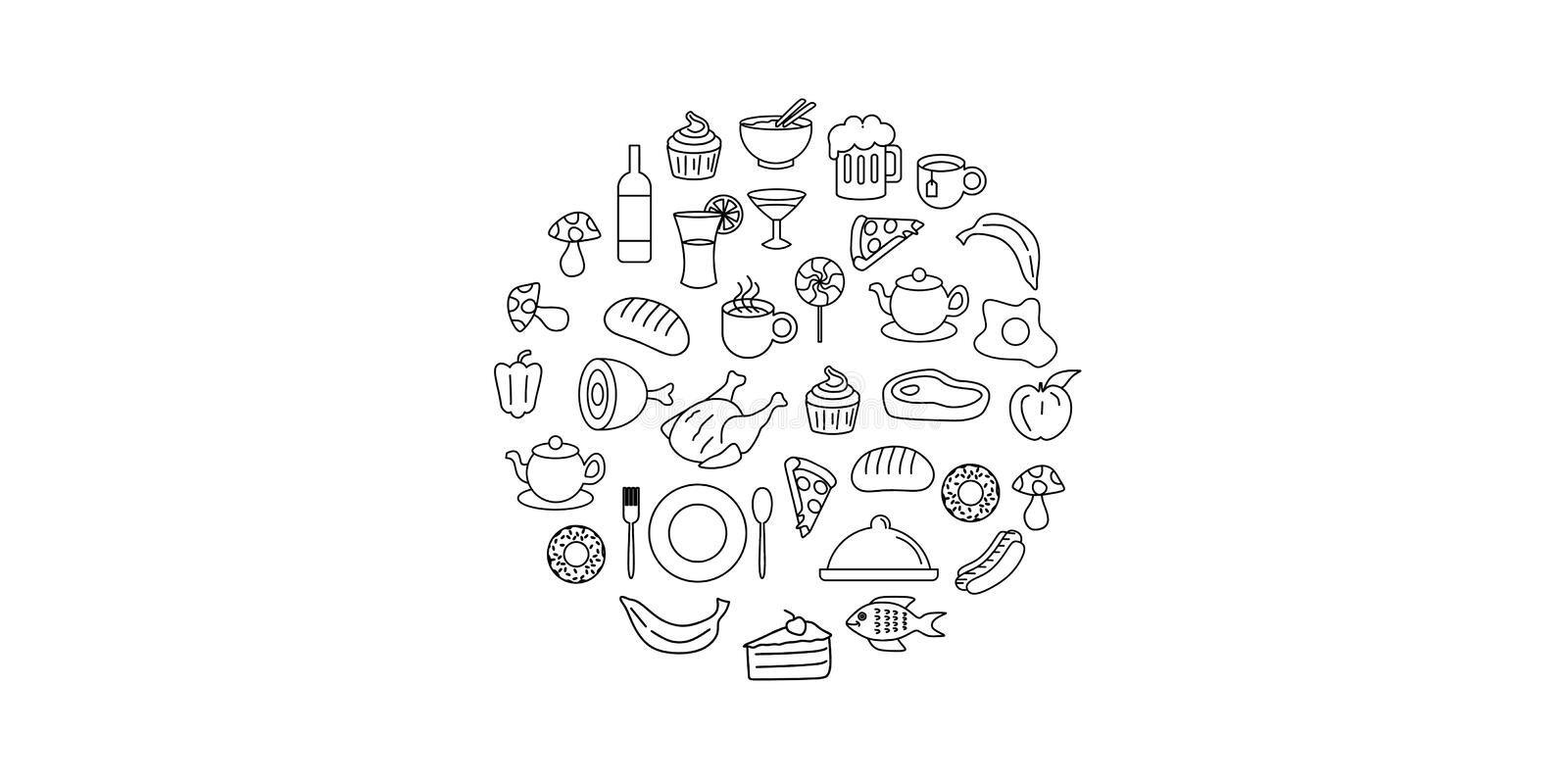 Line art vector hand drawn set of food and drink cartoon doodle objects, symbols and items. Round composition royalty free illustration