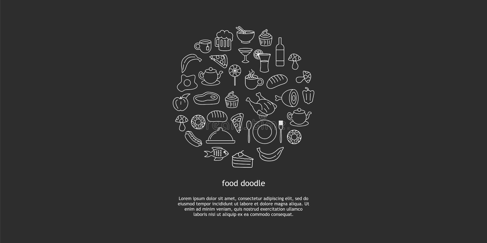 Line art vector hand drawn set of junk food cartoon doodle objects, symbols and items. Round composition stock illustration