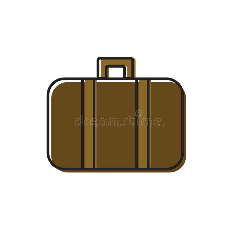 Line art vector illustration of vintage old fashioned leather suitcase travel trunk with straps. Offset effect coloring. Brown. Beige color palette. Icon logo stock illustration