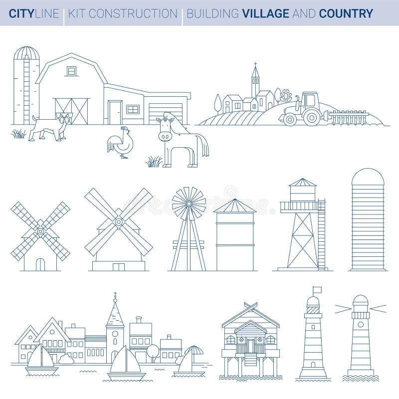 Line Vector Illustration Set. Farm, Sea and Lake elements stock illustration