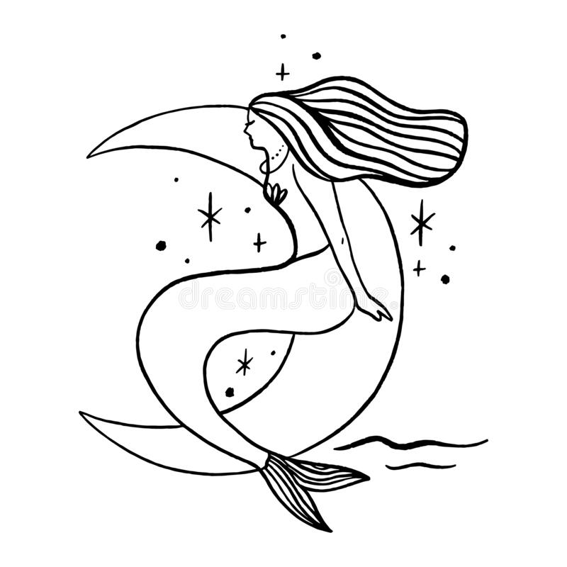 Free Line Art Woman Mermaid. Self Love And Care Concept. Silhouette Line Drawing, Fashion, Beauty Care Minimalist Vector, Girl Pretty Royalty Free Stock Photos - 190318318