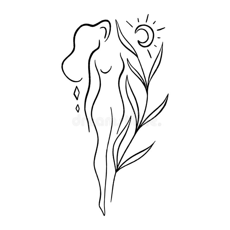 Free Line Art Woman. Self Love And Care Concept. Continuous Line Drawing, Fashion, Beauty Care Minimalist Vector, Girl Pretty Royalty Free Stock Image - 190316996