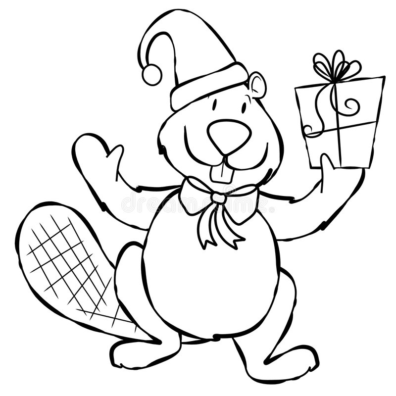 Line Art Xmas Beaver. An illustration of a simple cartoonish beaver dressed for Xmas holding a present. Line art (black and white illustrations) are perfect for stock illustration