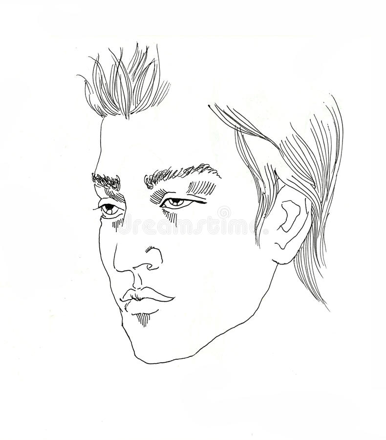 Line Art Man : Line art young man portrait ink drawing on white stock