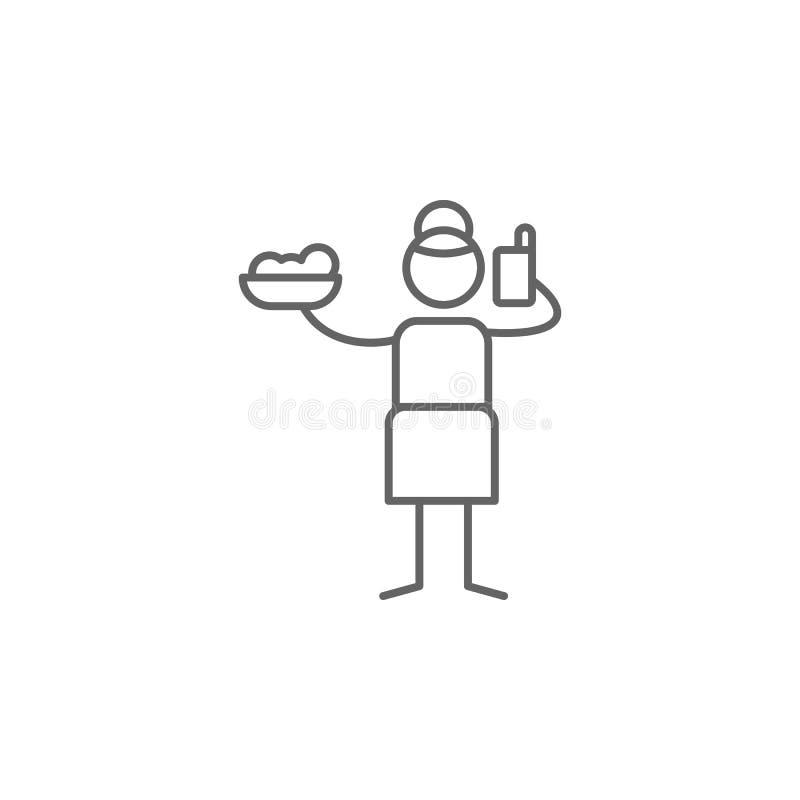 On-line-Auftrag, Restaurantikone Element der Restaurantikone D?nne Linie Ikone f?r Websitedesign und Entwicklung, APP-Entwicklung stock abbildung