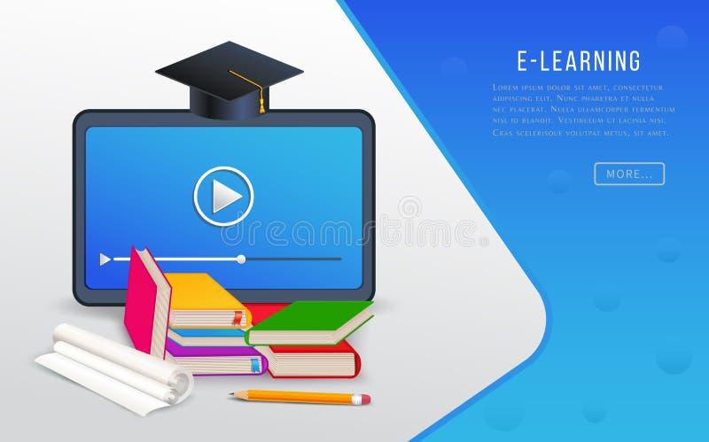 On-line-Ausbildung, E-Learning, Collegeforschung, Ausbildungskurskonzept mit Tablette, Bücher, Lehrbücher und Staffelungskappe stock abbildung