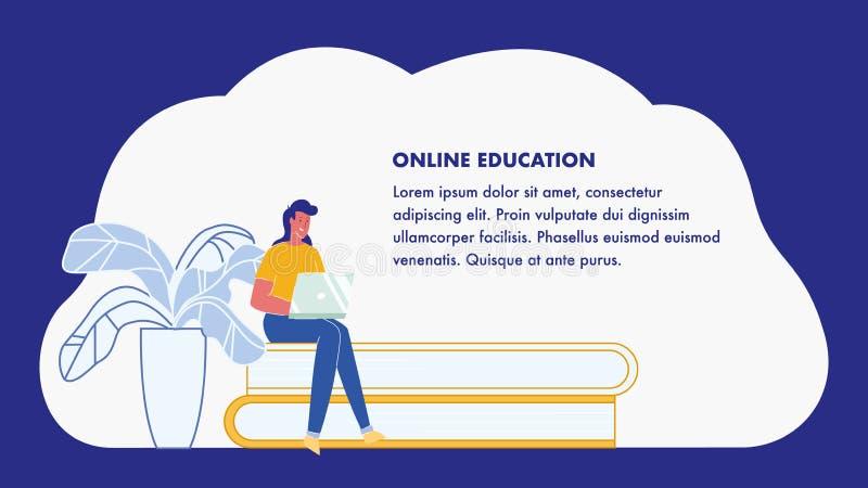 On-line-Ausbildung, E-Learning-Netz-Fahnen-Plan stock abbildung