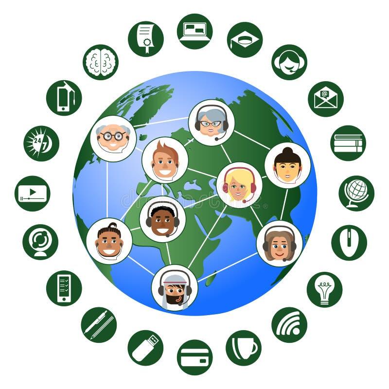On-line-Ausbildung Infographics weltweit f?r alle lizenzfreie abbildung