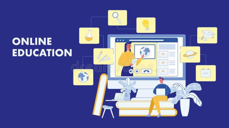 On-line-Ausbildung, kursiert Vektor-Fahnen-Plan stock abbildung