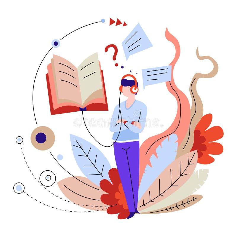 On-line-Ausbildung und Audiohörendes entferntes Lernen der bücher oder der Lehrbücher lizenzfreie abbildung