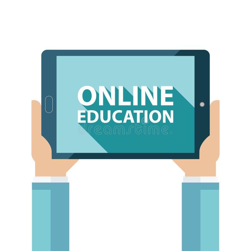 On-line-Ausbildungskonzept mit langem Schatten und Hände, die Tablet-Computer halten lizenzfreie abbildung