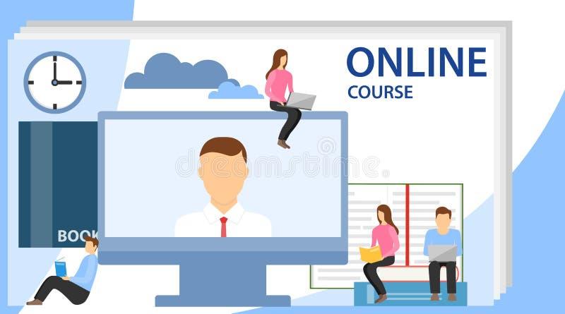 On-line-Ausbildungskonzept mit Textplatz On-line-Training, Werkst?tten und Kurse Kleine Leute betrachten den Schirm vektor abbildung