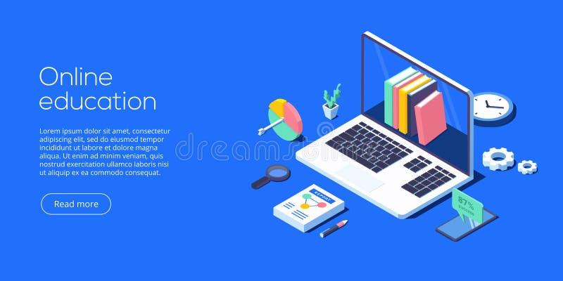 On-line-Ausbildungskonzept-Vektorillustration im isometrischen Entwurf stock abbildung