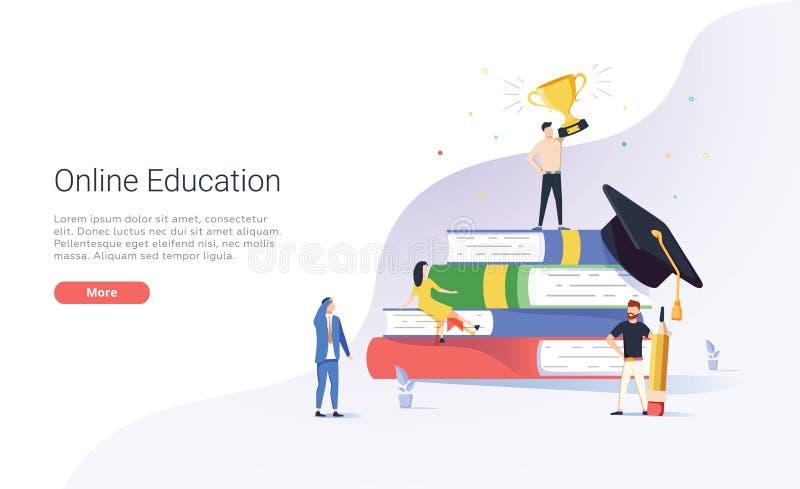 On-line-Ausbildungsvektorillustrationskonzept-, -mann- und -frauenlesebuch durch on-line, Student, der auf Abstand lernt lizenzfreie abbildung