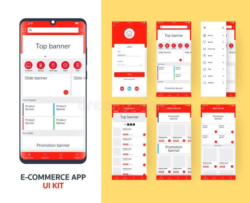 On-line-Ausr?stung E-Commerce App UI f?r entgegenkommenden mobilen App mit unterschiedlichem GUI-Plan einschlie?lich LOGON, Haupt lizenzfreie abbildung