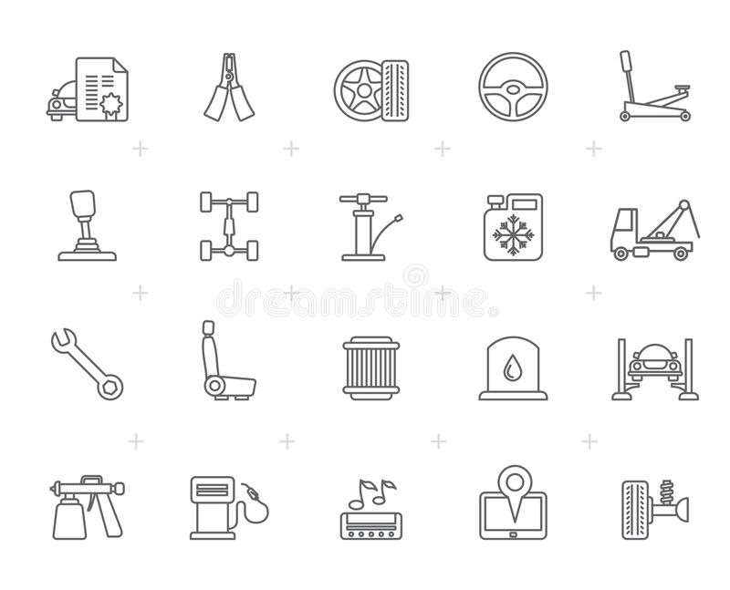 Line Auto service and car part icons vector illustration