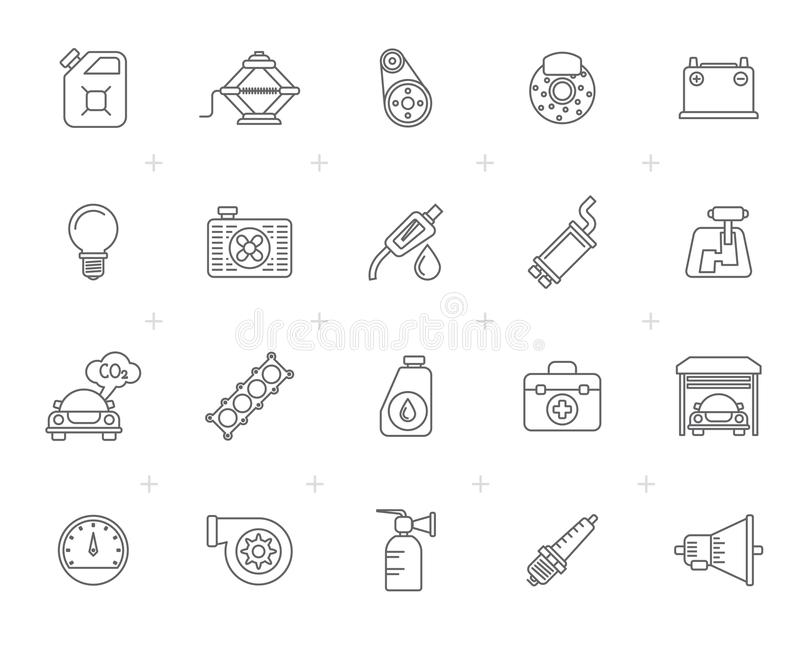 Line Auto service and car part icons stock illustration