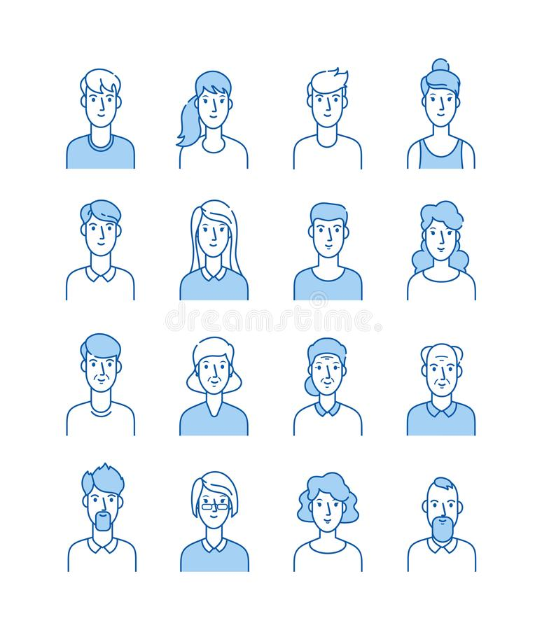 Line avatars. Happy people icons user flat outline male female avatar anonymous faces man woman cute guy internet stock illustration