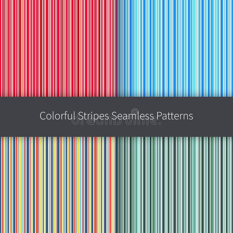 Line backgrounds set. Red pink orange blue green yellow and white stripes vector seamless pattern stock illustration