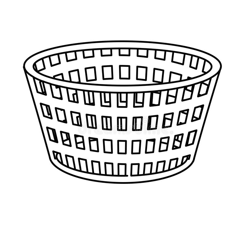 Line basket to dirty clothes and domestic housework. Vector illustration stock illustration