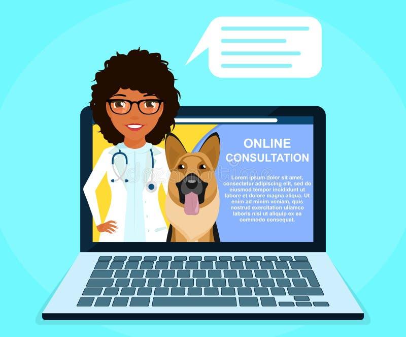On-line-Beratung mit einem Berufstierarzt Ein junges Mädchen bietet tierärztlichen on-line-Rat an Medizin und Gesundheitswesen lizenzfreie stockfotos