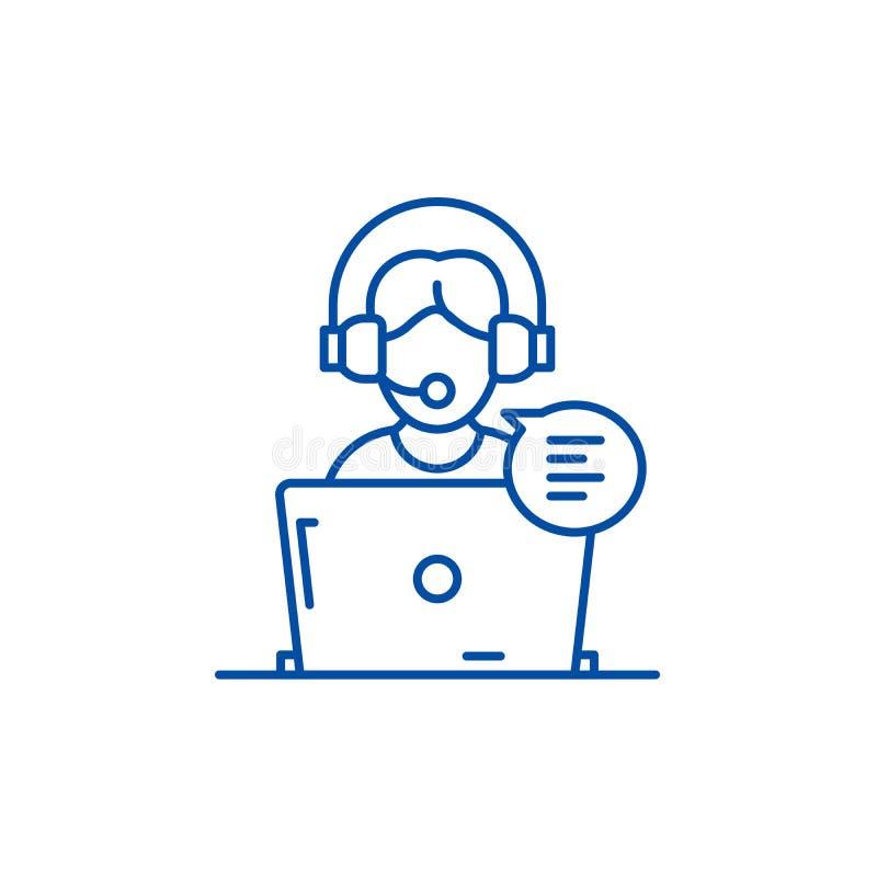 On-line-Beratungslinie Ikonenkonzept Beratenes flaches Vektoron-line-symbol, Zeichen, Entwurfsillustration stock abbildung