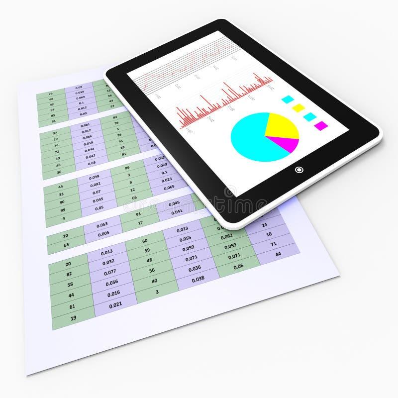 On-line-Berichts-Durchschnitt-Tablet-PC und Entwerfen lizenzfreie abbildung