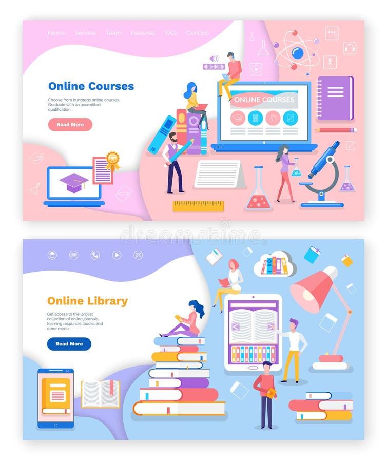 On-line-Bibliothek und Kurse für Studenten-Studien lizenzfreie abbildung
