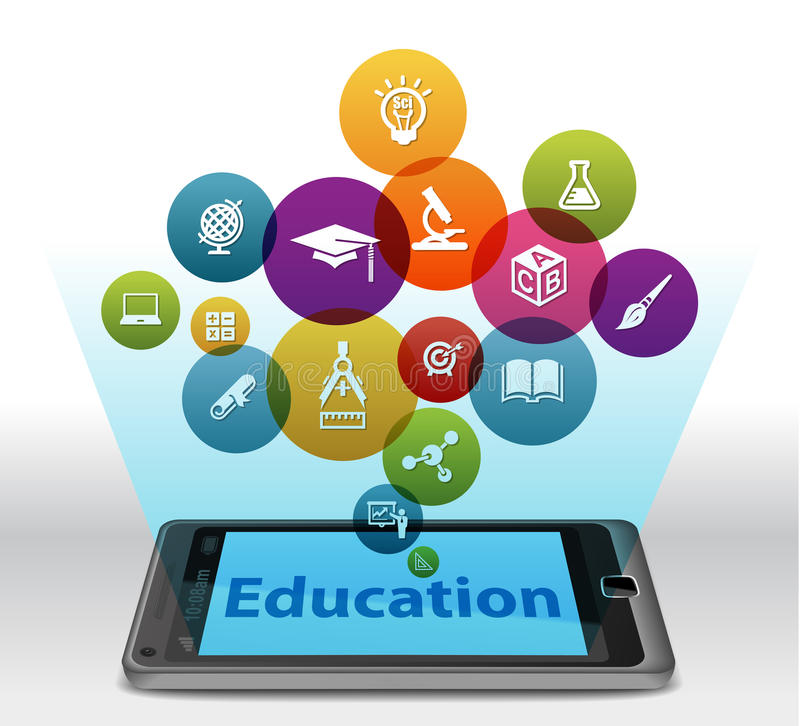 On-line-Bildung auf Smartphone stock abbildung