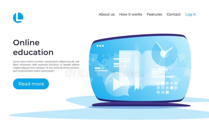 On-line-Bildung, E-Learning, Tutorien vector Konzept landung lizenzfreie abbildung