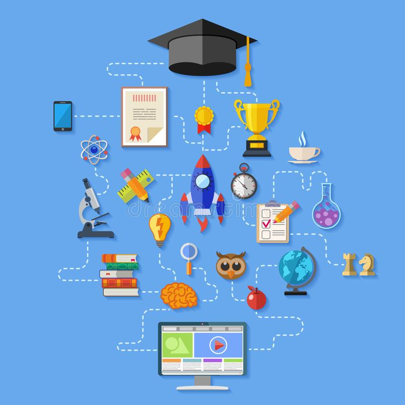 On-line-Bildung Infographics lizenzfreies stockfoto